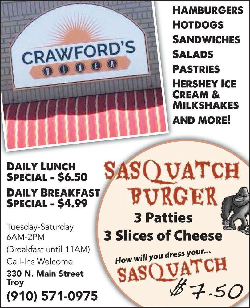 Crawfords Diner: 330 N Main St, Troy, NC