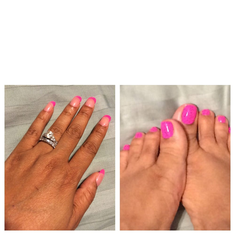 Powder acrylic w/Gel French manicure and pink nail polish toes. - Yelp
