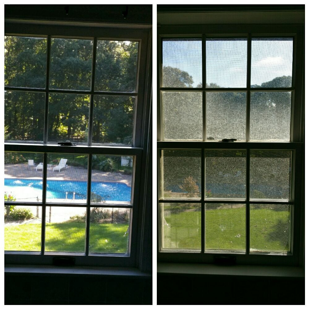 Window cleaning, before and after picture, after hard water deposit ...