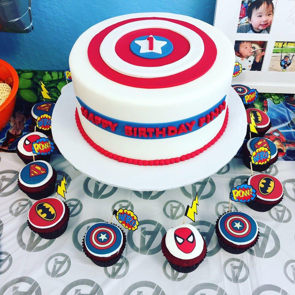 Captain America Birthday Cake And Other Super Hero Cupcakes Yelp