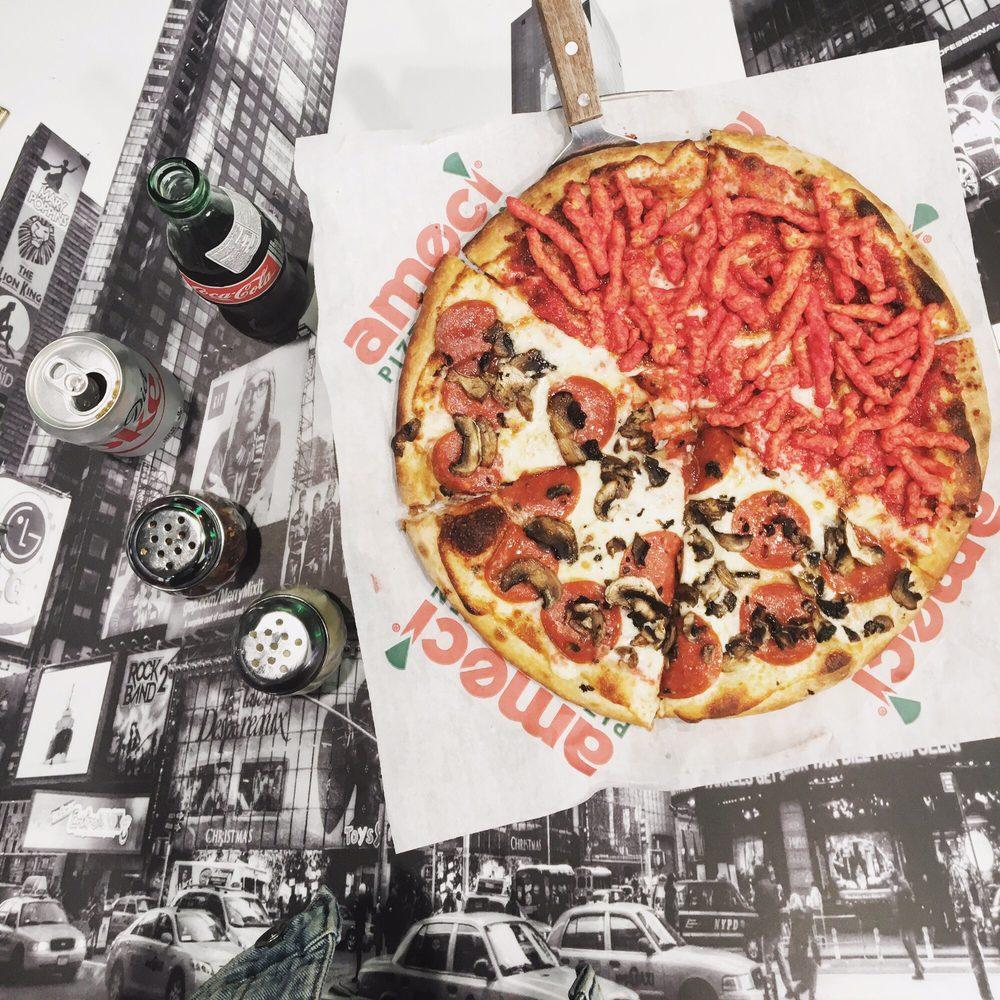 California Pizza Kitchen Glendale: Half Hot Cheeto / Half Pepperoni Mushroom