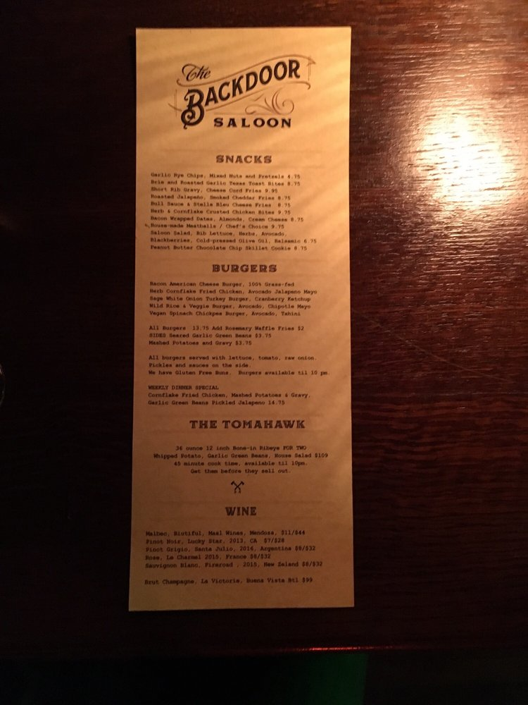 The Backdoor Saloon - 844 W Randolph St, West Loop, Chicago