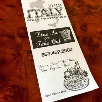 Little Italy Restaurant Avon Park Fl Menu