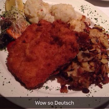 ... Viennese schnitzel with German potato salad, and roasted potatoes