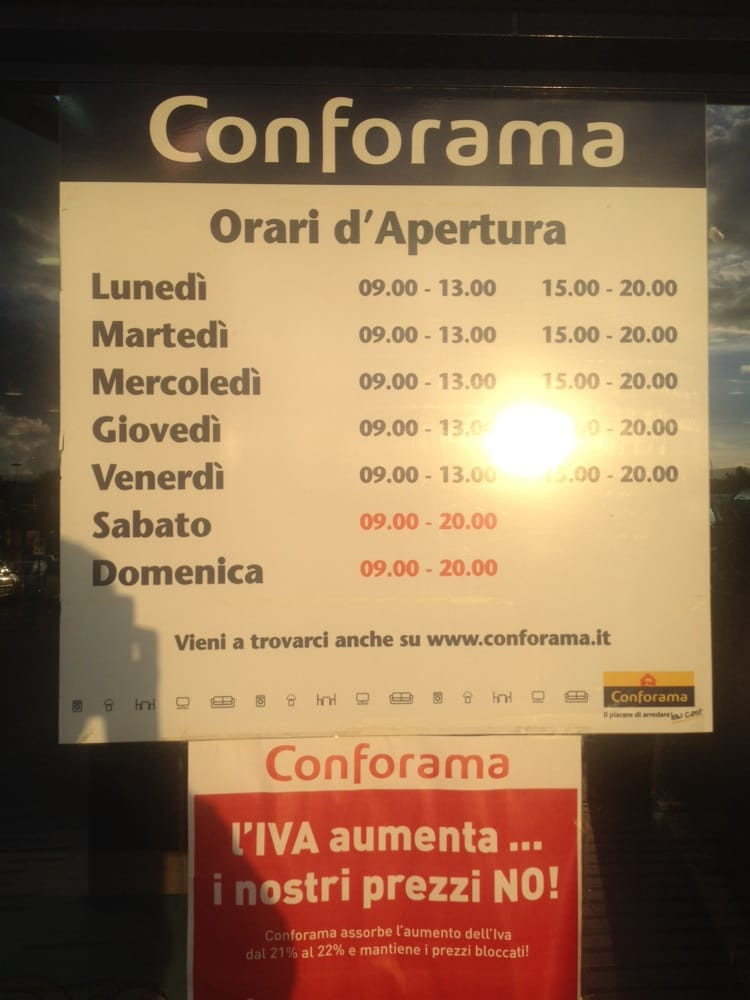 Conforama italia centri commerciali viale delle for Conforama assistenza