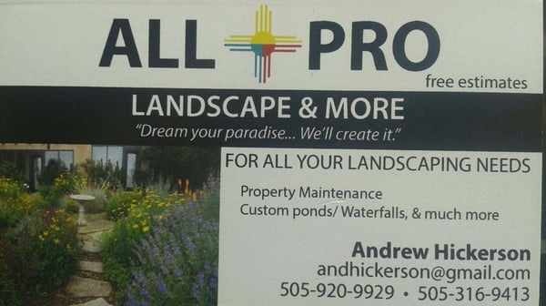 Photo for All Pro Landscaping & More - All Pro Landscaping & More - CLOSED - Landscaping - Santa Fe, NM