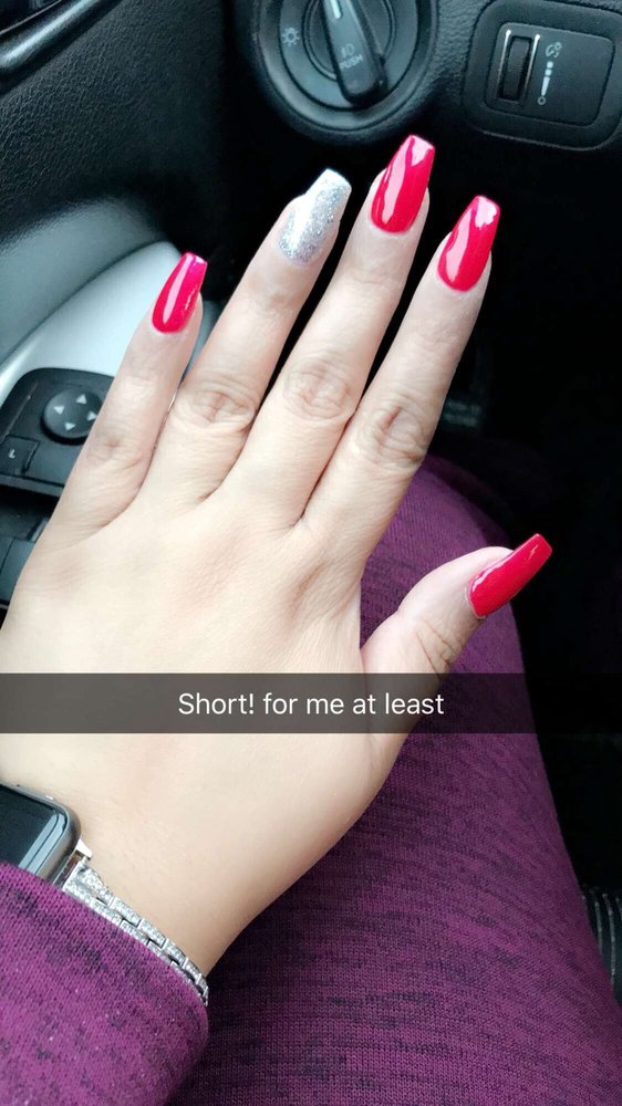 Love my red and silver coffin nails - Yelp