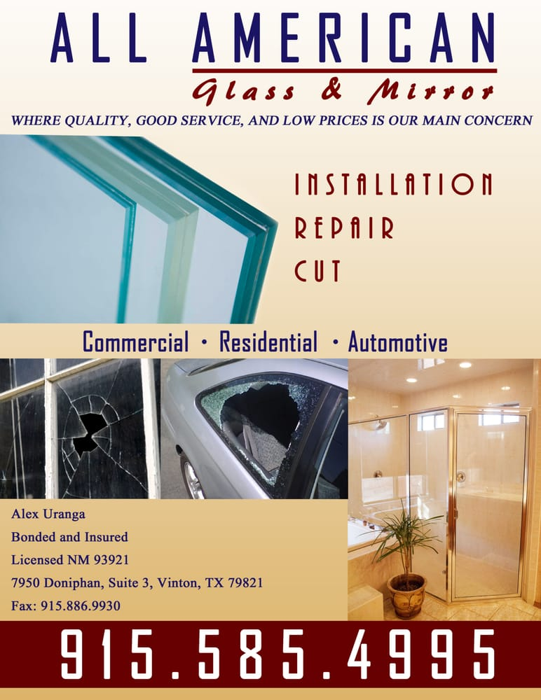 All American Glass & Mirror: 7950 Doniphan Dr, Vinton, TX
