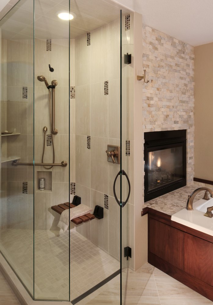 Steam Shower Door With Oil Rubbed Bronze Hardware And Recessed