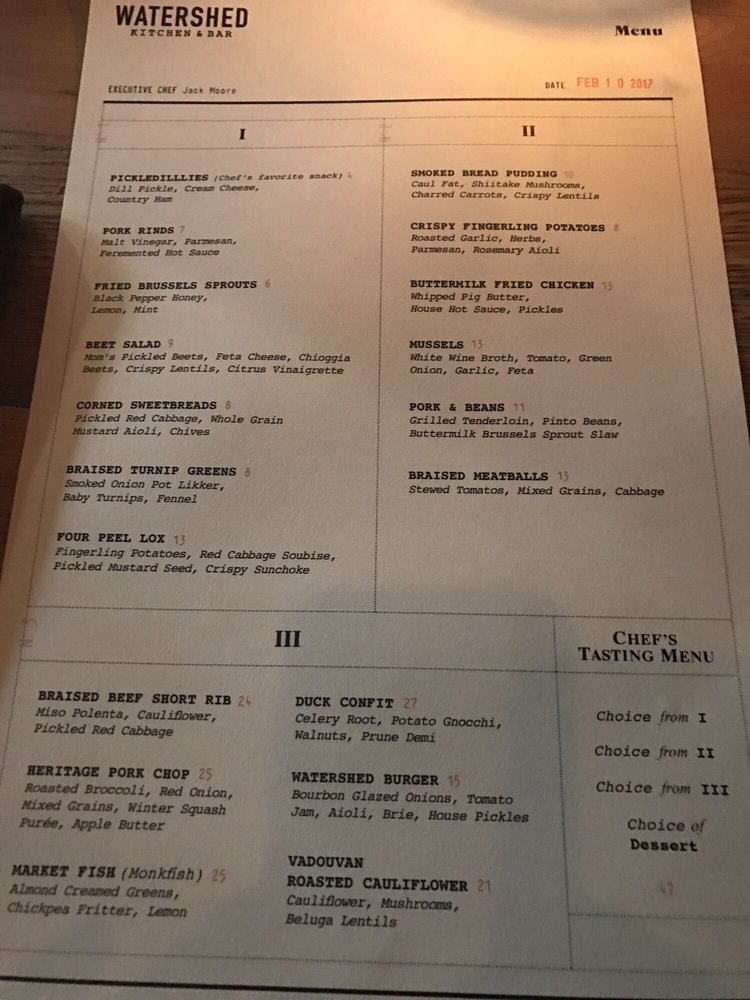 photo of watershed kitchen bar columbus oh united states menu on - Watershed Kitchen