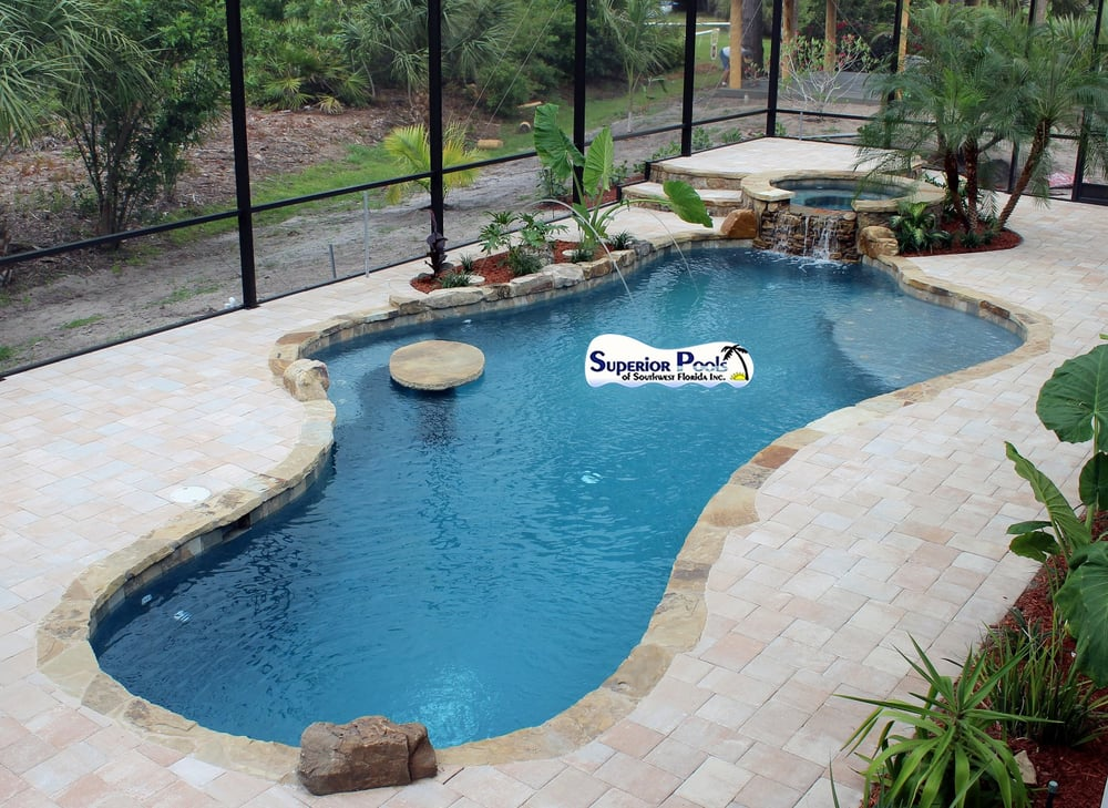 Superior pools new construction swimming pool spa paver Flagstone pavers around pool