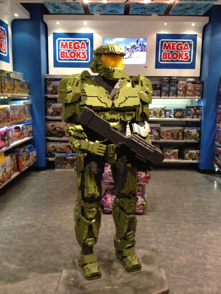 halo themed mega bloks display in toys r us times square yelp