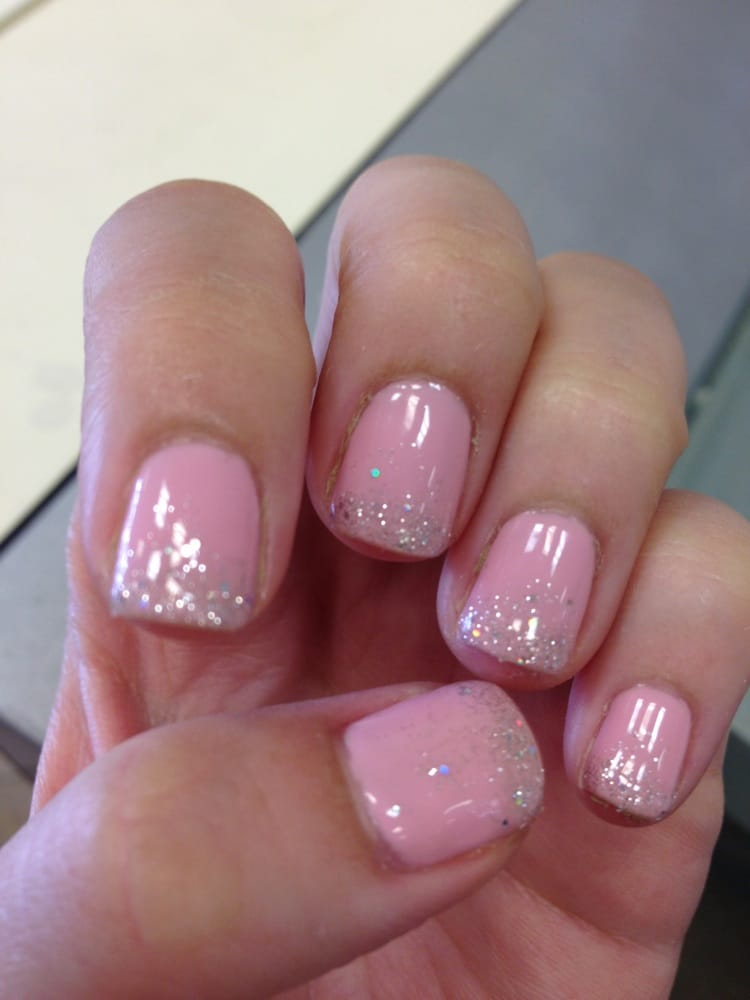 Baby pink with silver glitter. Gel nails by Amy. I\'m so in love with ...