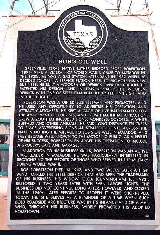 Bob's Oil Well: Texas 70, Matador, TX