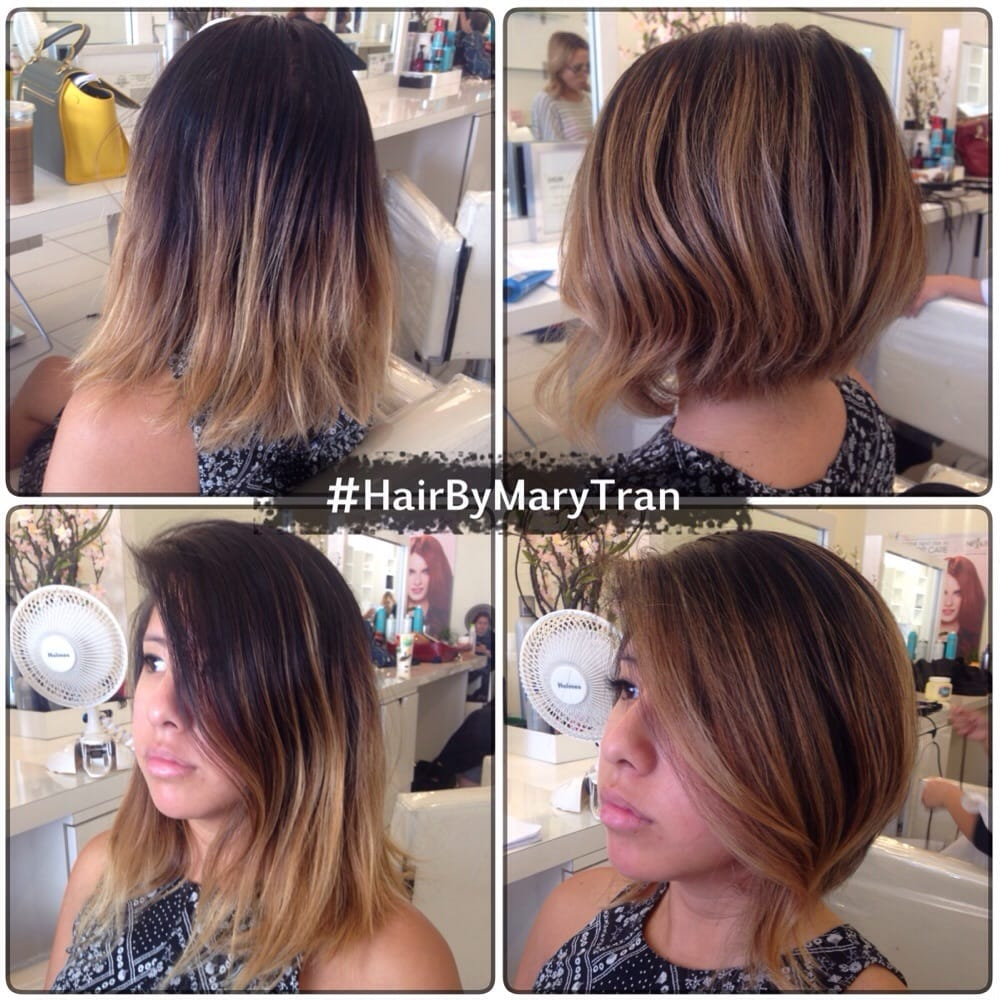 Graduated Bob A Line Haircut With Touched Up Balayage Ombre