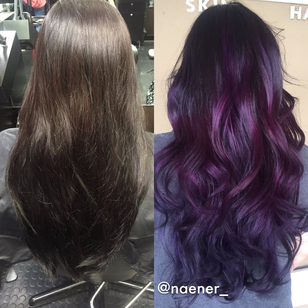 Before And After Box Colored Black Hair To Deep Purple