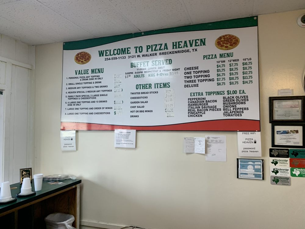 Pizza Heaven: 3121 W Walker St, Breckenridge, TX