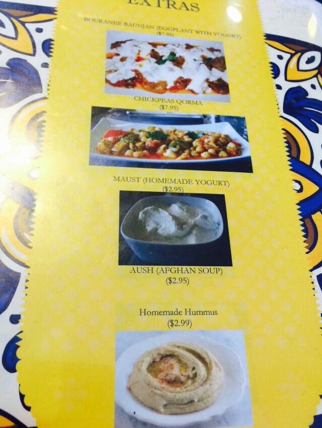 Menu extras yelp for Afghan cuisine houston tx