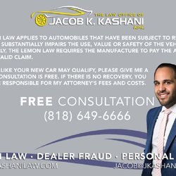 California Lemon Law Attorneys In Los Angeles >> The Lemon Law Office Of Jacob K Kashani 45 Reviews Legal