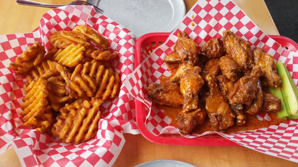 Waffle fries (full order) and 3 alarm wings (two pounds) - Yelp