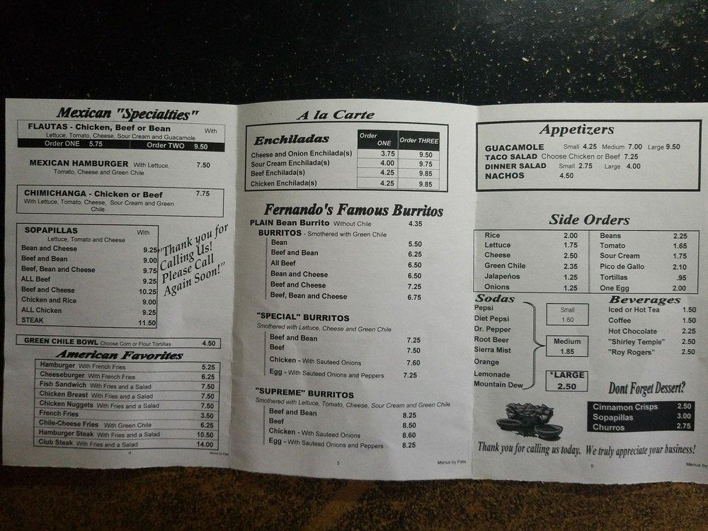 Fernando's Mexican Food: 123 S Main St, Yuma, CO