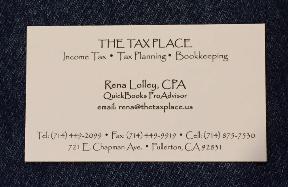 Business Card Rena Lolley CPA In e Tax Preparation