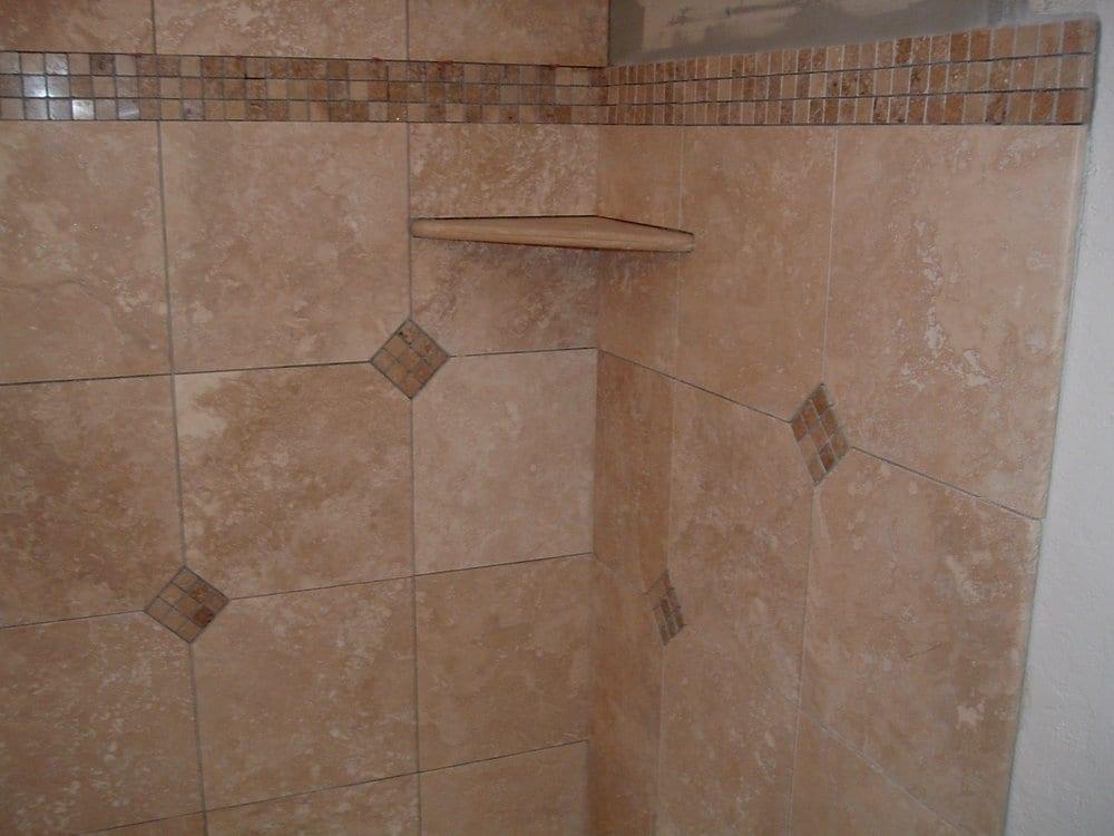 travertine shower with custom corner shelf yelp. Black Bedroom Furniture Sets. Home Design Ideas