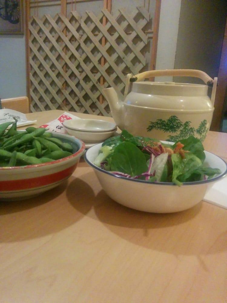 Edamame salad and green tea yelp for Asaka japanese cuisine