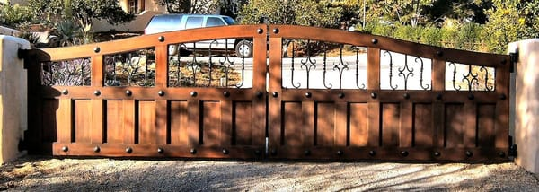 Wood Iron Ranch Gate With Rivets And Arch Yelp
