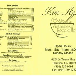 Kim anh noodle house harahan menu ideas