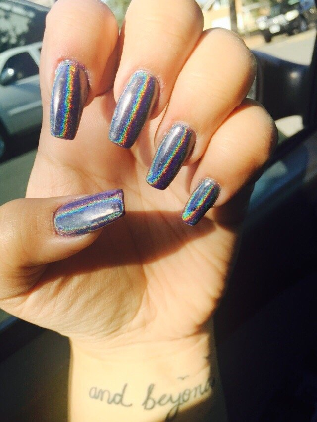 Coffin Chrome Nails done by Jennifer - Yelp
