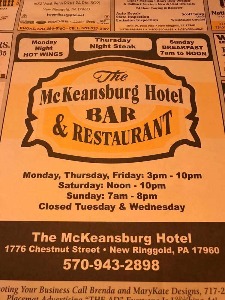 McKeansburg Hotel, Bar and Restaurant: 1776 Chestnut St, New Ringgold, PA