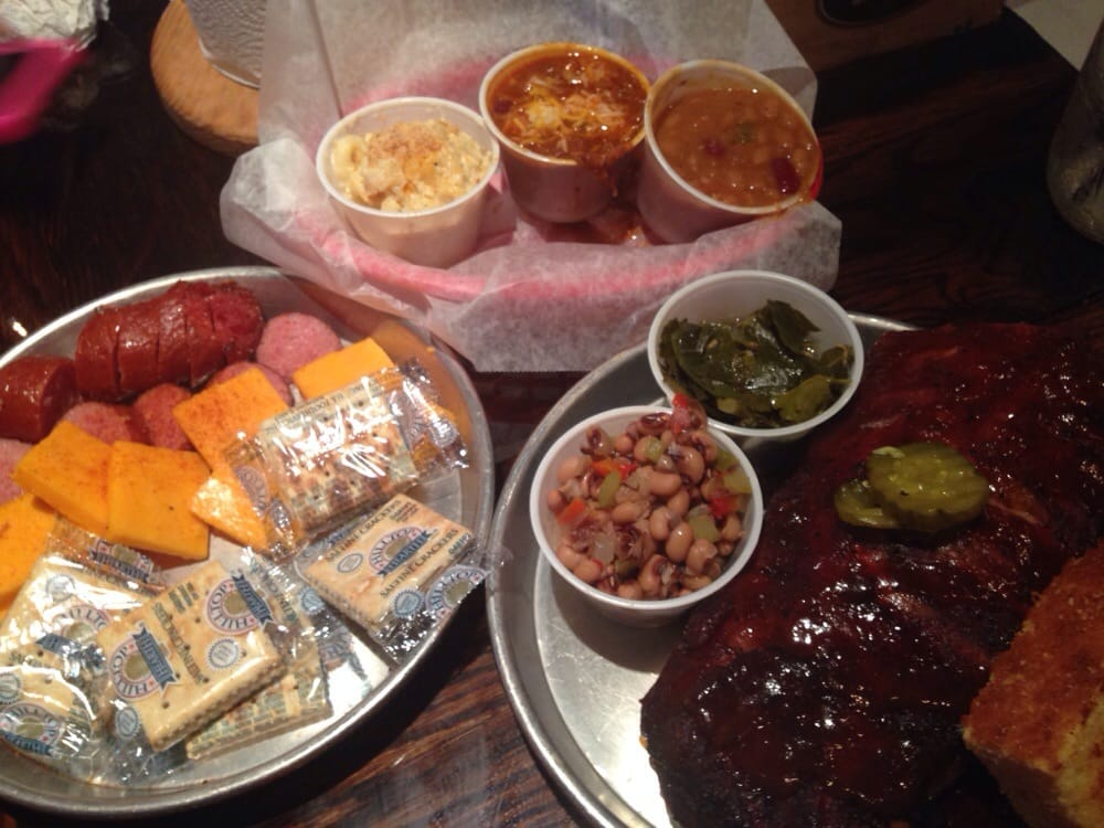 491 photos for Edley\u0027s Bar-B-Que & Full rack of ribs sides and a sausage \u0026 cheese platter - Yelp