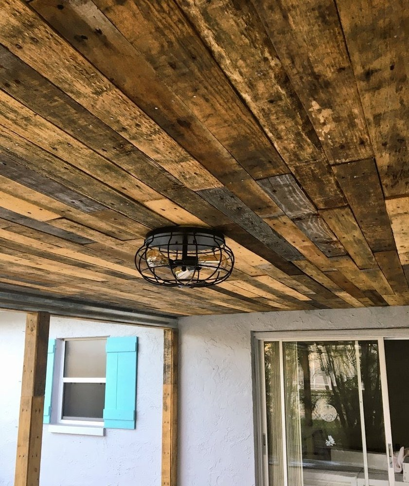 Outdoor pallet wood ceilings are HOT this summer!! - Yelp