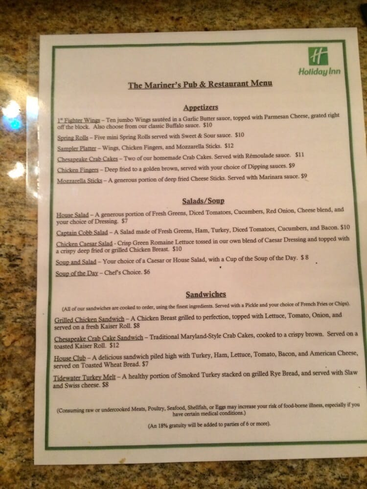 mariner s pub resturant menu am ricain traditionnel 943 j clyde morris blvd newport news. Black Bedroom Furniture Sets. Home Design Ideas