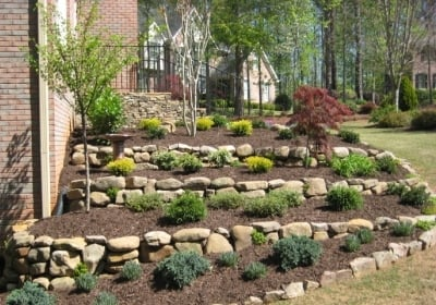 Tiered Landscaping with dry stacked retention wall - Yelp on Tiered Backyard Ideas id=59653