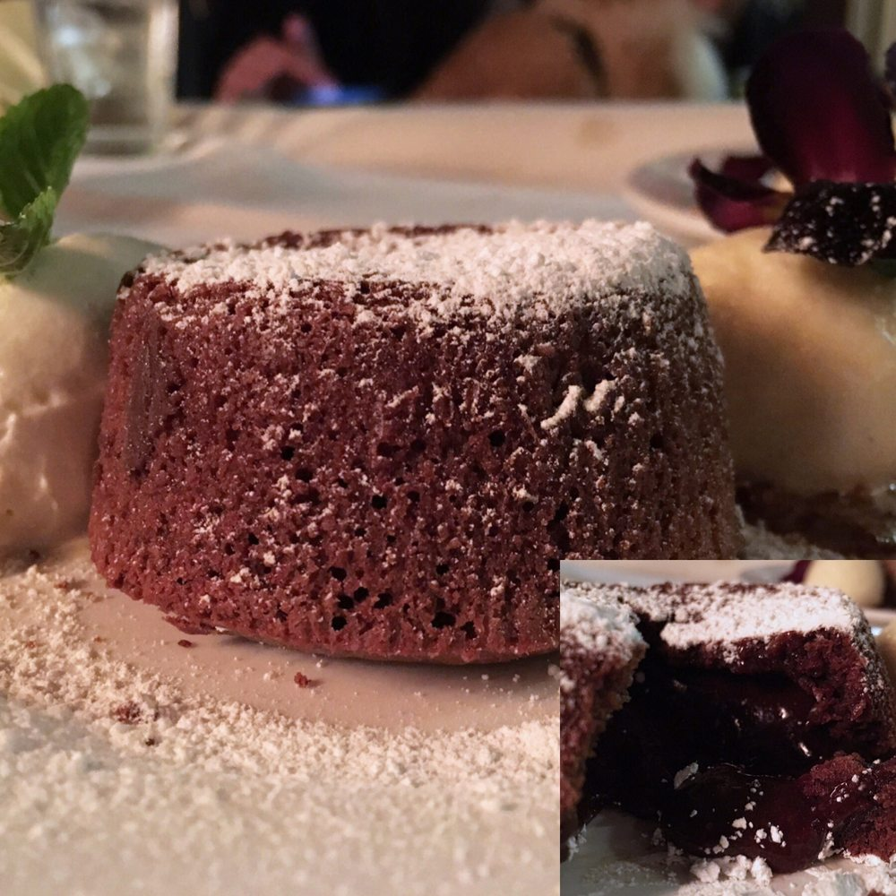 Chocolate Lava Cake W Vanilla Gelato Candied Pecans