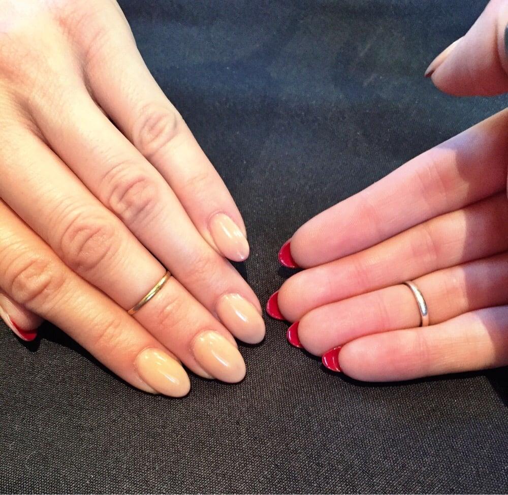 Louis Vuitton Stiletto nails (nude gel top, red gel underneath ...