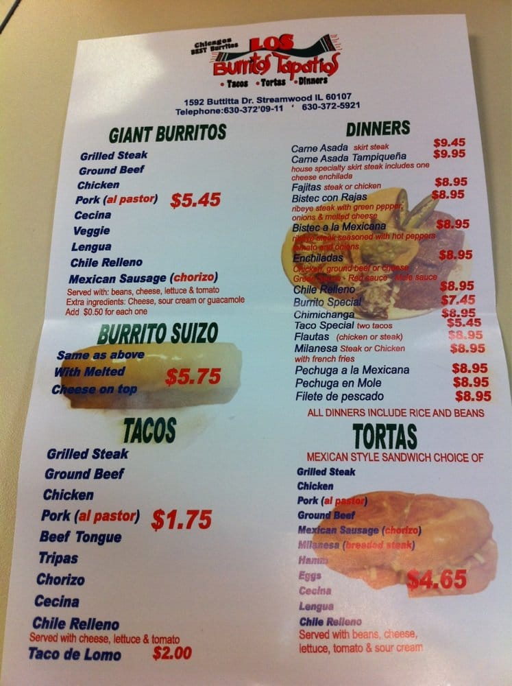 Los Burritos Tapatios Glen Ellyn Restaurant Menu