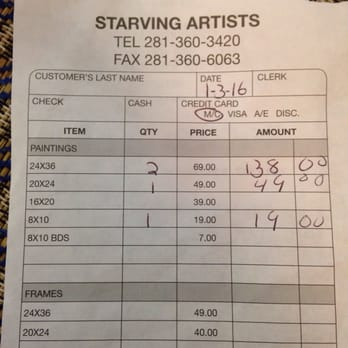 What is the average price of an oil painting at a starving artist sale?