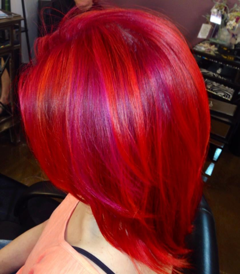Amazing Creative Hair Color Pink Magenta Orange Hair Color