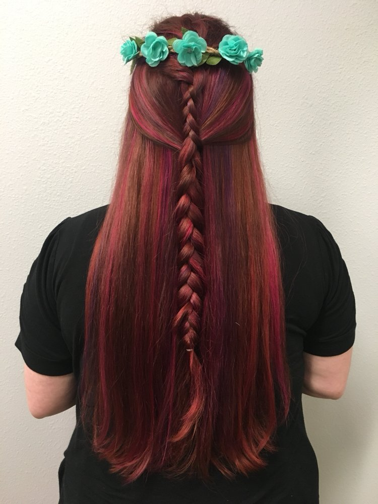 Rich Red Color With Purple And Pink Highlights Styled With A