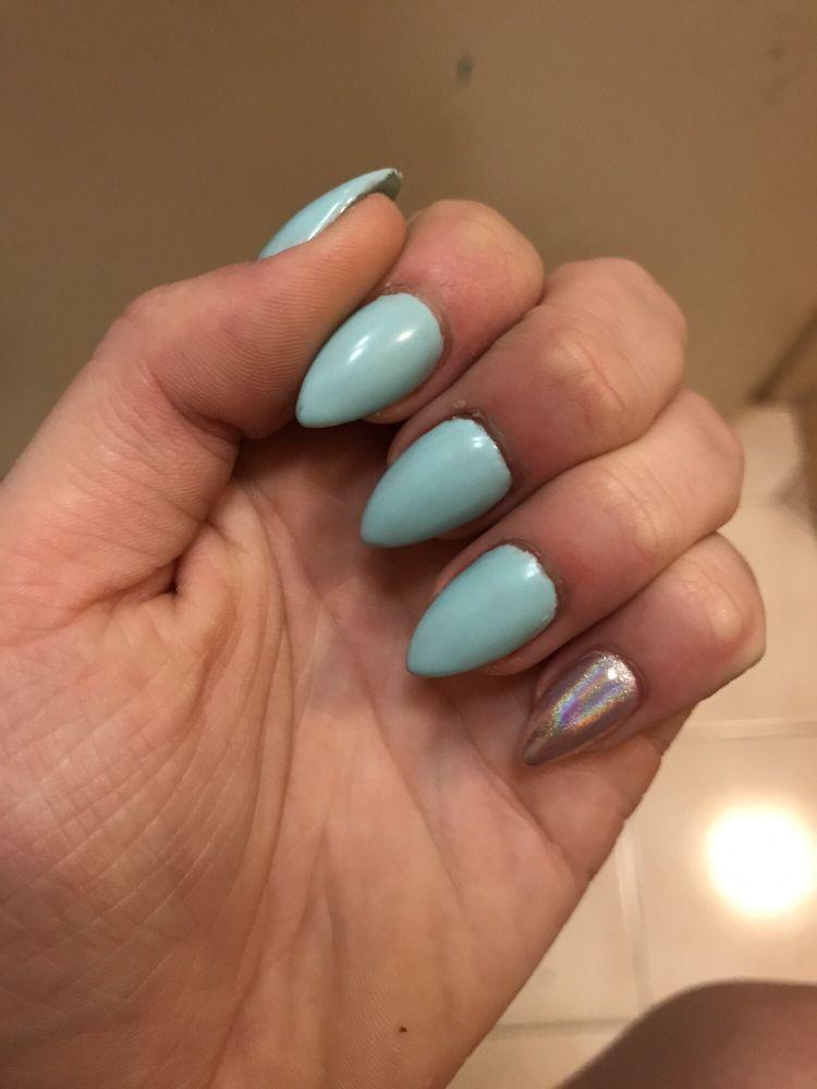 Gelato on my mind (blue) matte finish gel acrylics Pinkys: baby pink ...