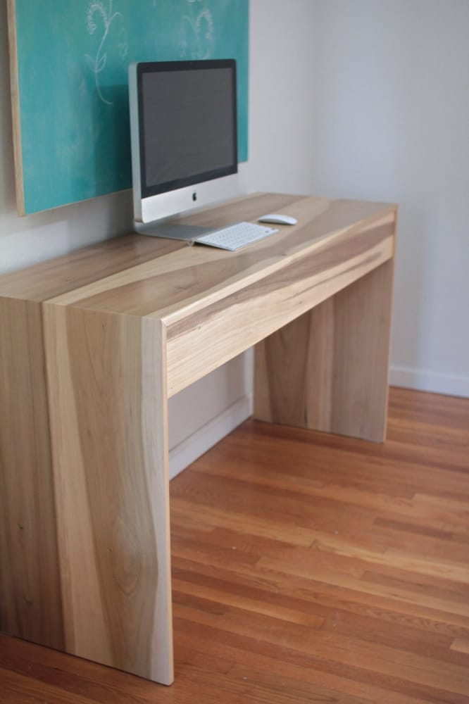 Minimalist Wood Waterfall Desk W Hidden Drawer Yelp