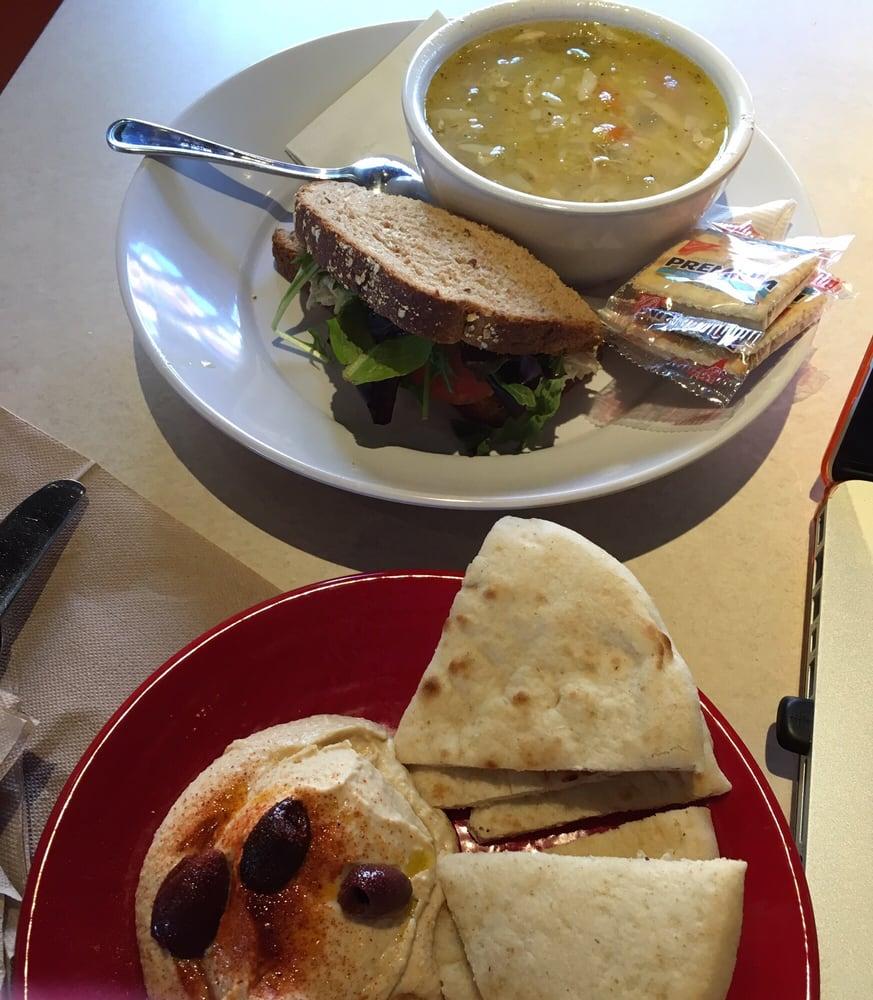 Zoes Kitchen Chicken Salad Sandwich Orzo Soup W Half Chicken Salad Sandwich And Hummus Plate  Yelp