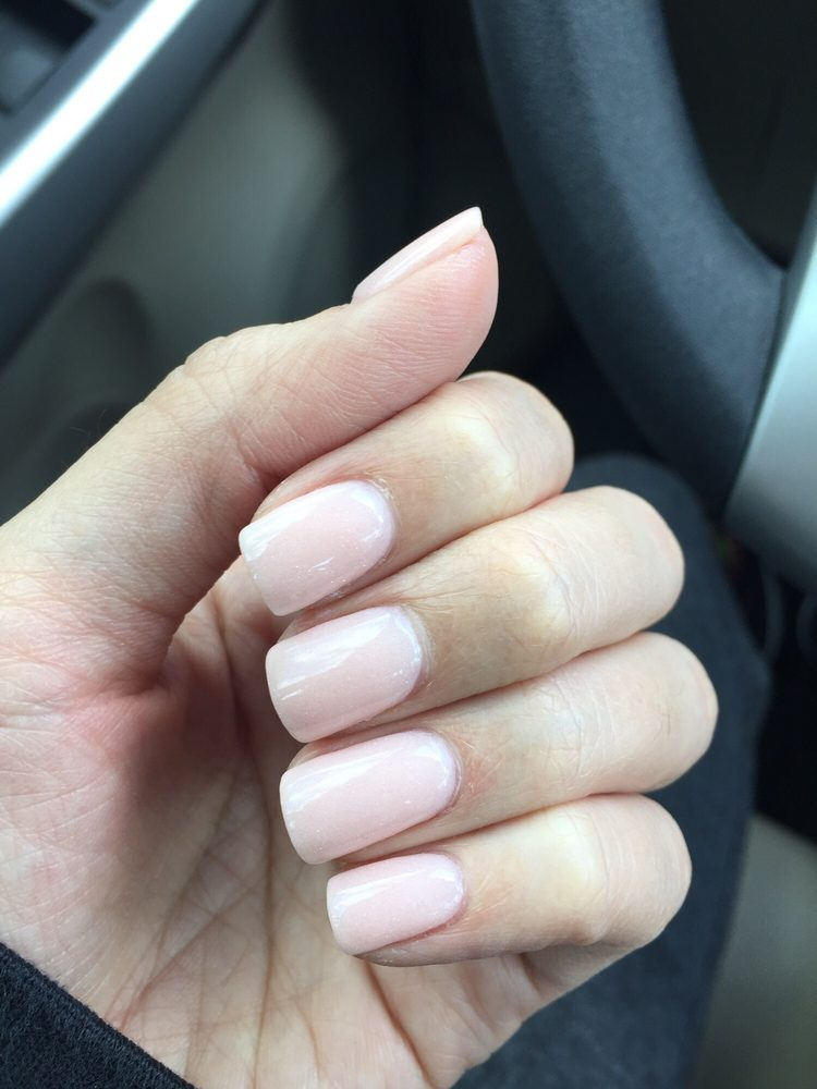 Perfect shape and length dip nails by Le. She buffed the powder thin ...