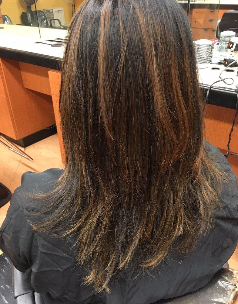 Caramel balayage hair      on plain dark black hair  Worked