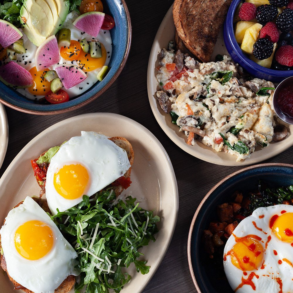Food from Snooze, an A.M. Eatery