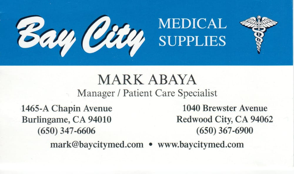 Bay City Medical Supplies: 1040 Brewster Ave, Redwood City, CA