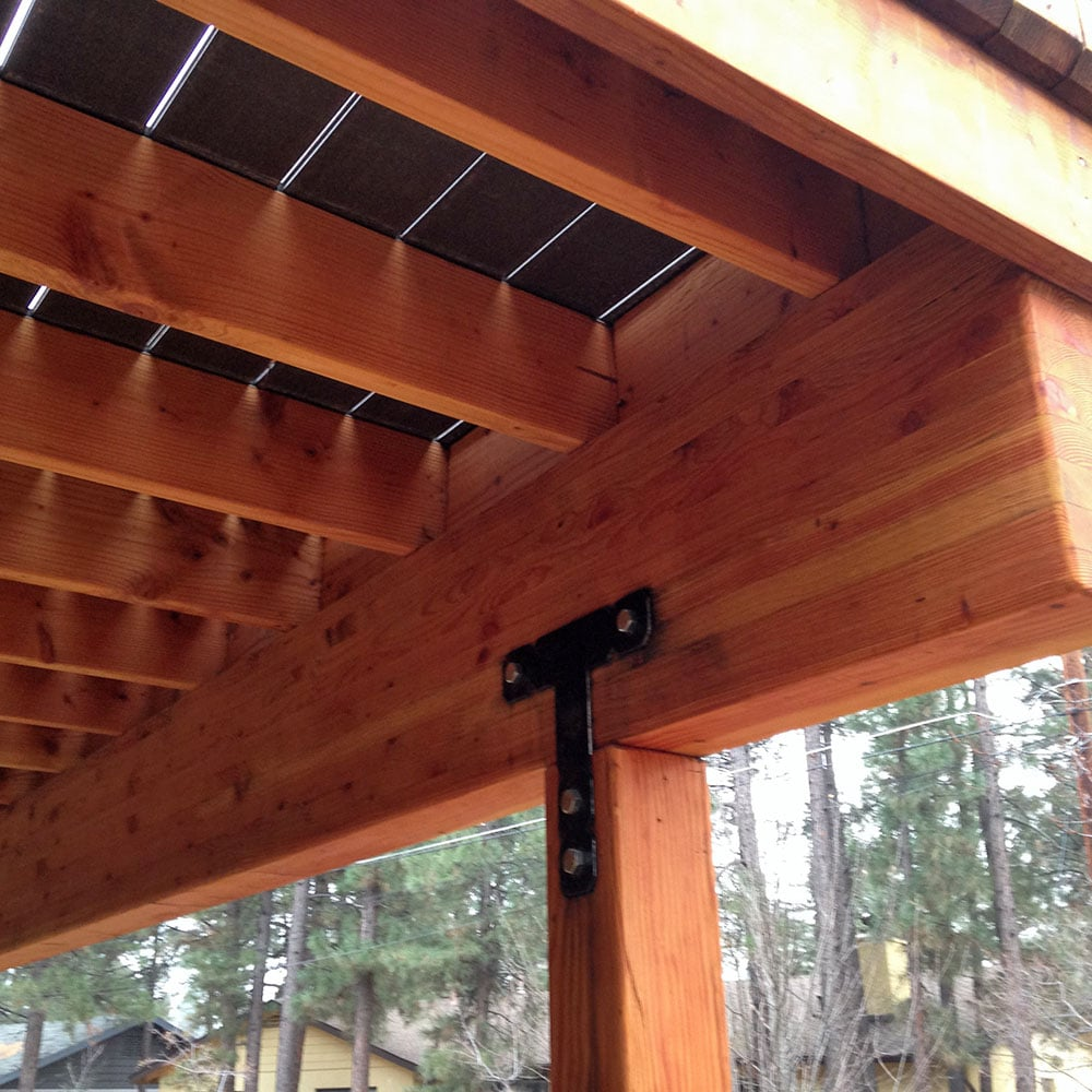 Underside Of A Newly Framed Deck Showing The Joists And Blocking